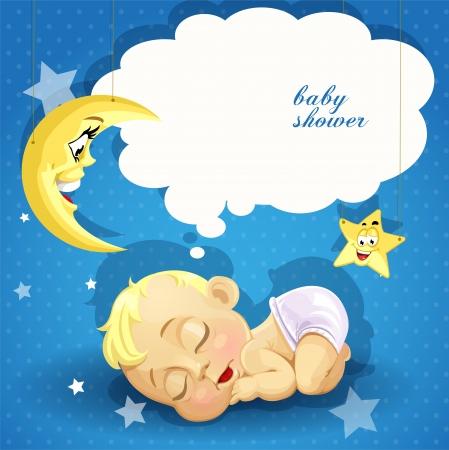 Baby-Dusche-Karte mit süßen schlafenden Neugeborenen