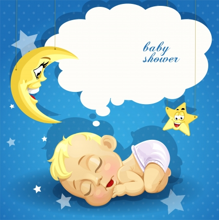 sleeping child: Baby shower card with sweet sleeping newborn baby