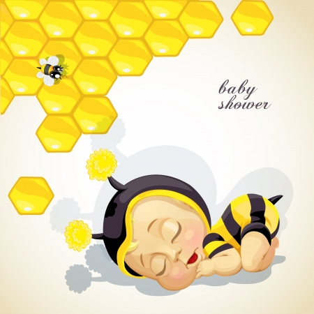 newborn baby girl: Baby shower card with newborn child dressed as bee