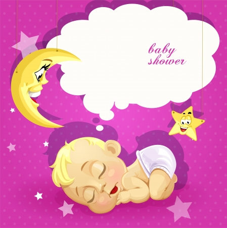 baby sleeping: Baby shower pink card with sleeping newborn baby