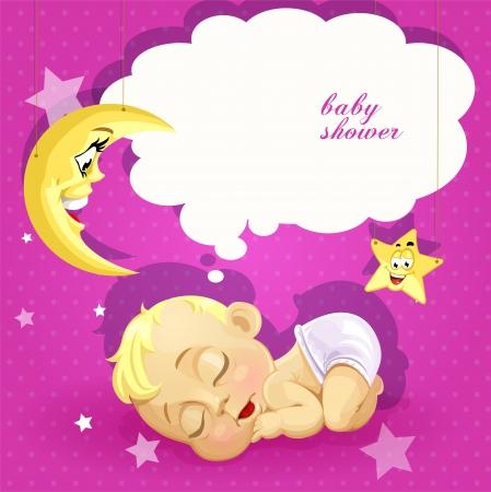 sleeping beauty: Baby shower pink card with sleeping newborn baby