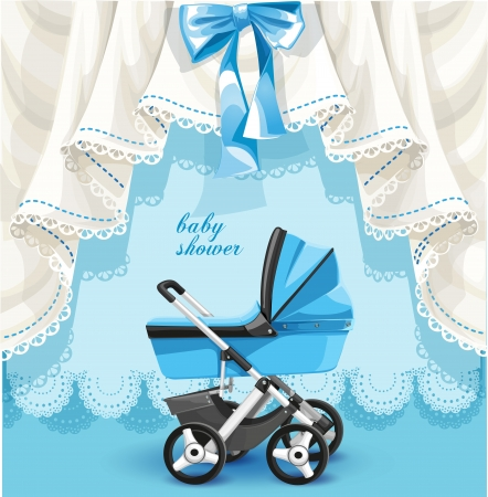 baby illustration: Blue baby shower card with baby carriage