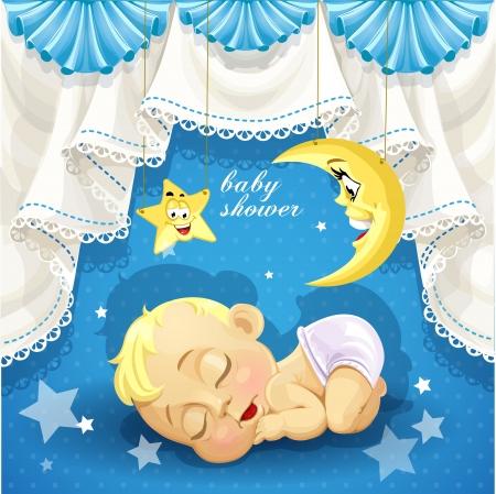 Blauw baby shower kaart met lieve slapende pasgeboren baby