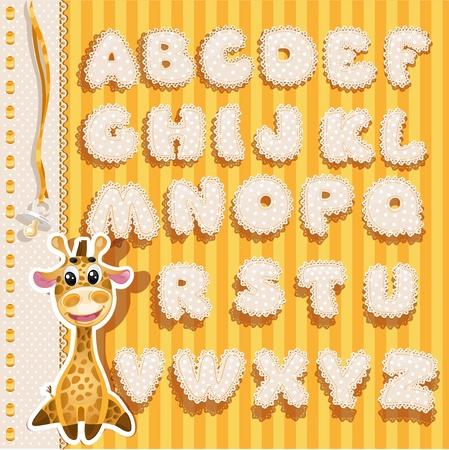 Baby alfabet met kant en linten, gele versie Stock Illustratie