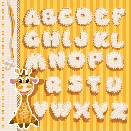Baby alphabet with lace and ribbons, yellow version Vector