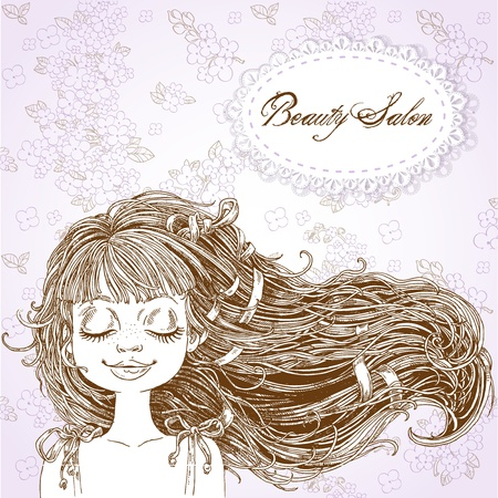complexion: Serene girl with flowing hair on a lilac background Illustration