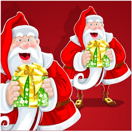 Cute Santa Claus give a gift on red background Vector