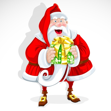 santa suit: Cute Santa Claus give a gift Illustration