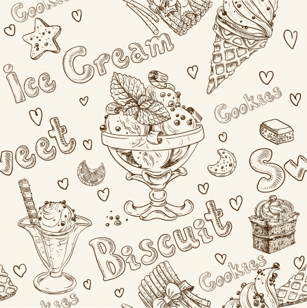milk and cookies: Ice cream seamless background