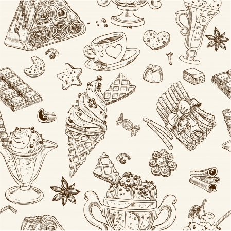 biscuit dough: Seamless pattern of candy and ice cream Illustration
