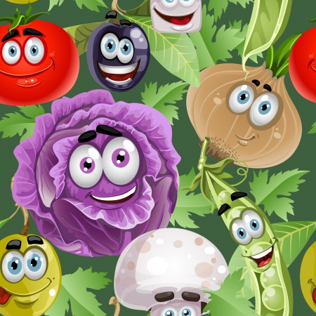 Seamless background with vegetables smiles Vector