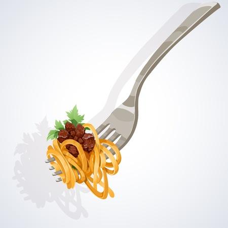 macaroni: Italiaans eten Pasta met tomaat en vlees op vork Stock Illustratie
