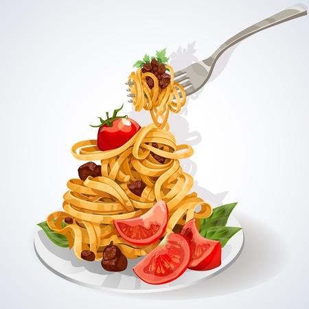 Pasta comida italiana con salsa de tomate y carne en un plato y un tenedor