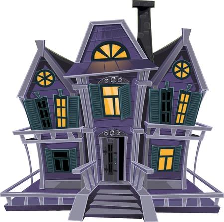 luna caricatura: Haunted Halloween bruja casa aislada en el fondo blanco Vectores