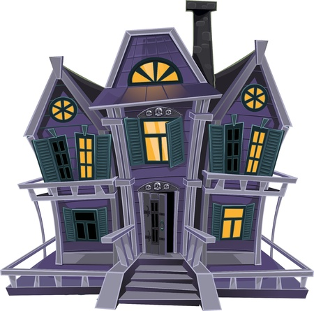 Haunted halloween witch house isolated on white background Vector