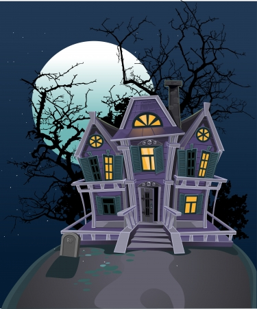 evil witch: Haunted Halloween strega casa Vettoriali