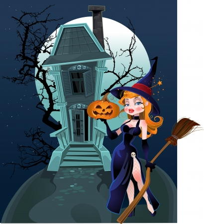 Haunted halloween witch house and witch Vector