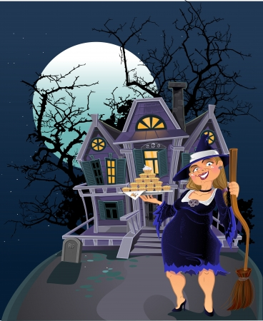 Cute witch near Haunted halloween witch house Vector