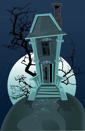 spooky tree: Haunted halloween house
