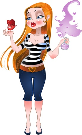 Girl with love love-potion Vector