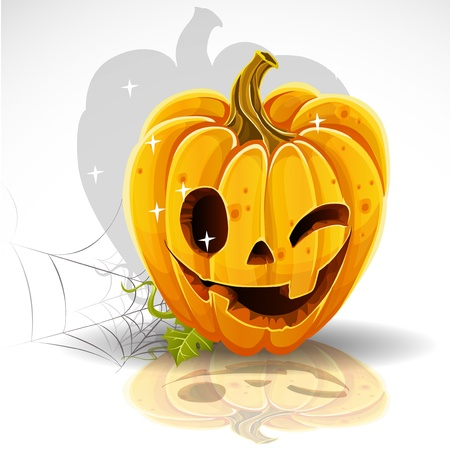 carved pumpkin: Halloween cut out pumpkin winking Jack