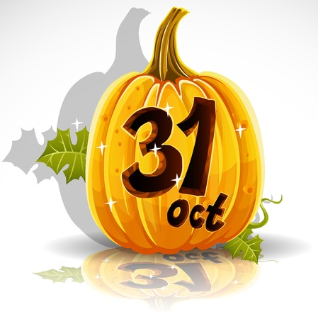 Happy Halloween font cut out pumpkin October 31 party Vector