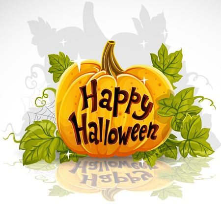 carved pumpkin: Happy Halloween cut out pumpkin banner