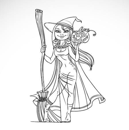 black breast: Cute witch with a broom and pumpkin black and white outline for coloring