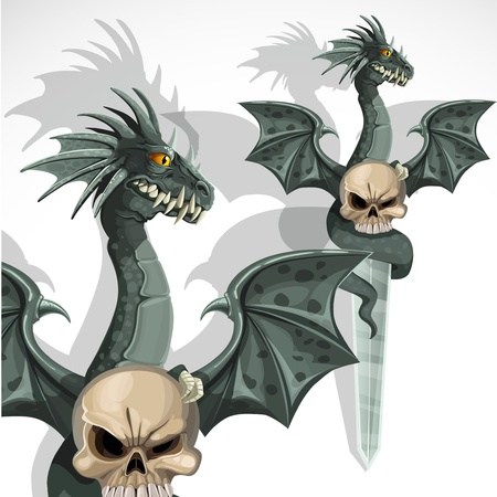 deterrence: Ritual dagger with a dragon and a skull on the handle