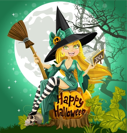 wicked: Beautiful young witch with a book and broom sitting on a Halloween background