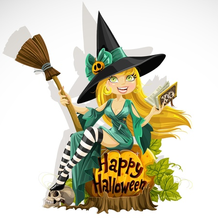 Beautiful young witch with a book and broom sitting on a pumpkin Vector