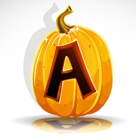 large pumpkin: Happy Halloween font cut out pumpkin letter A