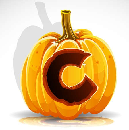 Happy Halloween font cut out pumpkin letter C Vector
