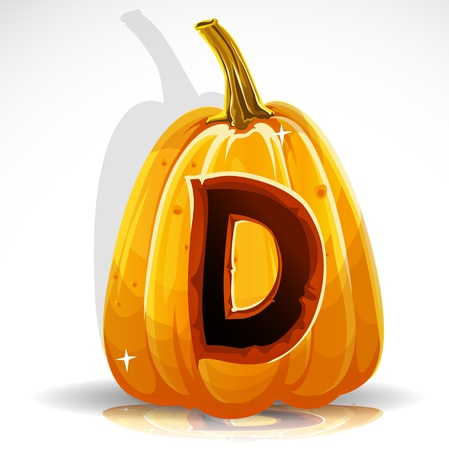 carved pumpkin: Happy Halloween font cut out pumpkin letter D
