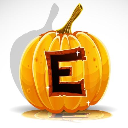 large pumpkin: Happy Halloween font cut out pumpkin letter E