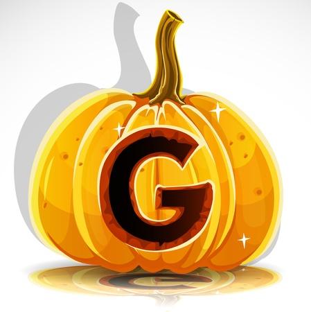 large pumpkin: Happy Halloween font cut out pumpkin letter G