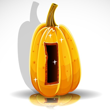 Happy Halloween font cut out pumpkin letter I Vector