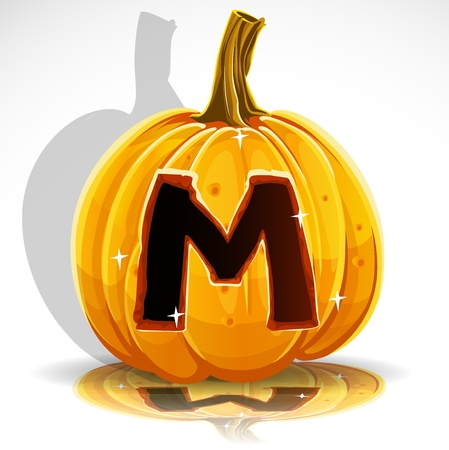 carved pumpkin: Happy Halloween font cut out pumpkin letter M Illustration