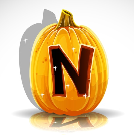 letter n: Happy Halloween font cut out pumpkin letter N Illustration
