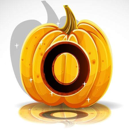 Happy Halloween font cut out pumpkin letter O Vector