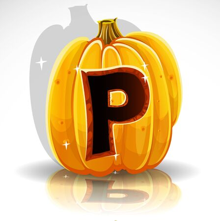carved pumpkin: Happy Halloween font cut out pumpkin letter P