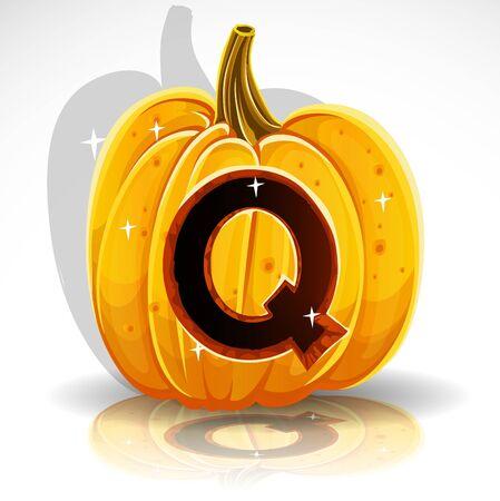 Happy Halloween font cut out pumpkin letter Q Vector
