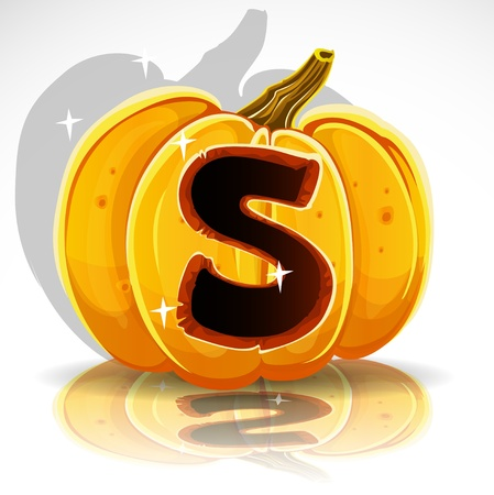 carved pumpkin: Happy Halloween font cut out pumpkin letter S