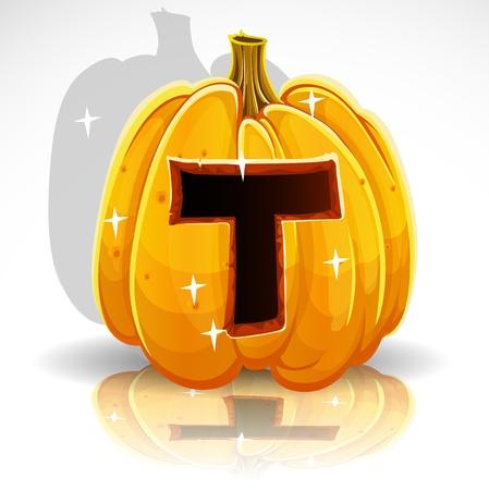 large pumpkin: Happy Halloween font cut out pumpkin letter T