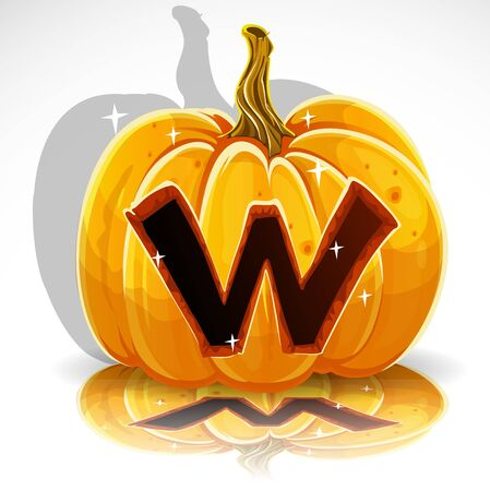 carved pumpkin: Happy Halloween font cut out pumpkin letter W