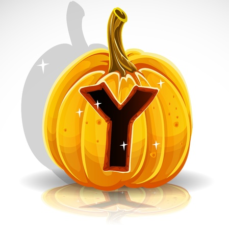 Happy Halloween font cut out pumpkin letter Y Vector