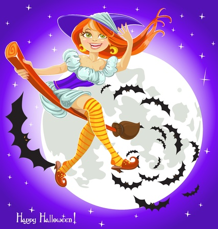 breast comic: Cute young witch on a broomstick in the night sky