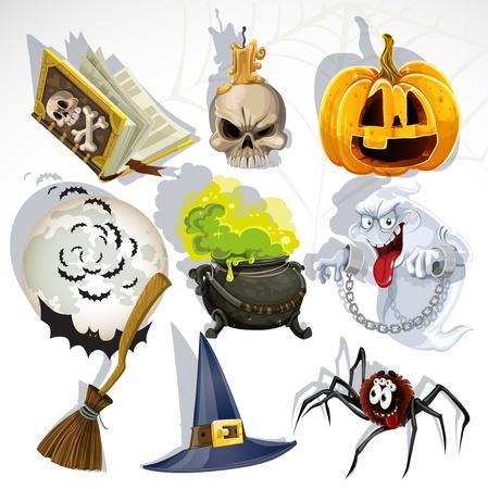 bruja: Colecci�n de objetos relacionados con Halloween y criaturas Vectores