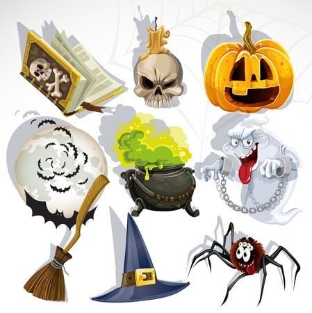 Collection of halloween related objects and creatures Vector