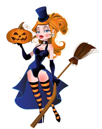 sexy halloween girl: beautiful red-haired witch and pumpkin